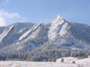 A snowy day on the Flatirons in Boulder.