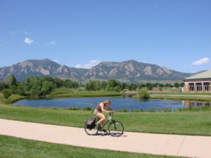 Bicycling by East Boulder Rec Center