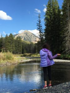 Lower Loop Trail by Peanut Lake. My youngest daughter throwing rocks.